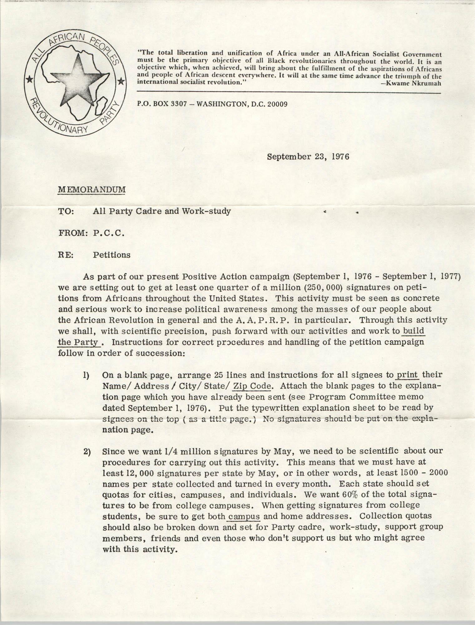 All African People's Revolutionary Party Memorandum, September 23, 1976