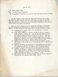 National Program Committee Memorandum, July 22, 1974