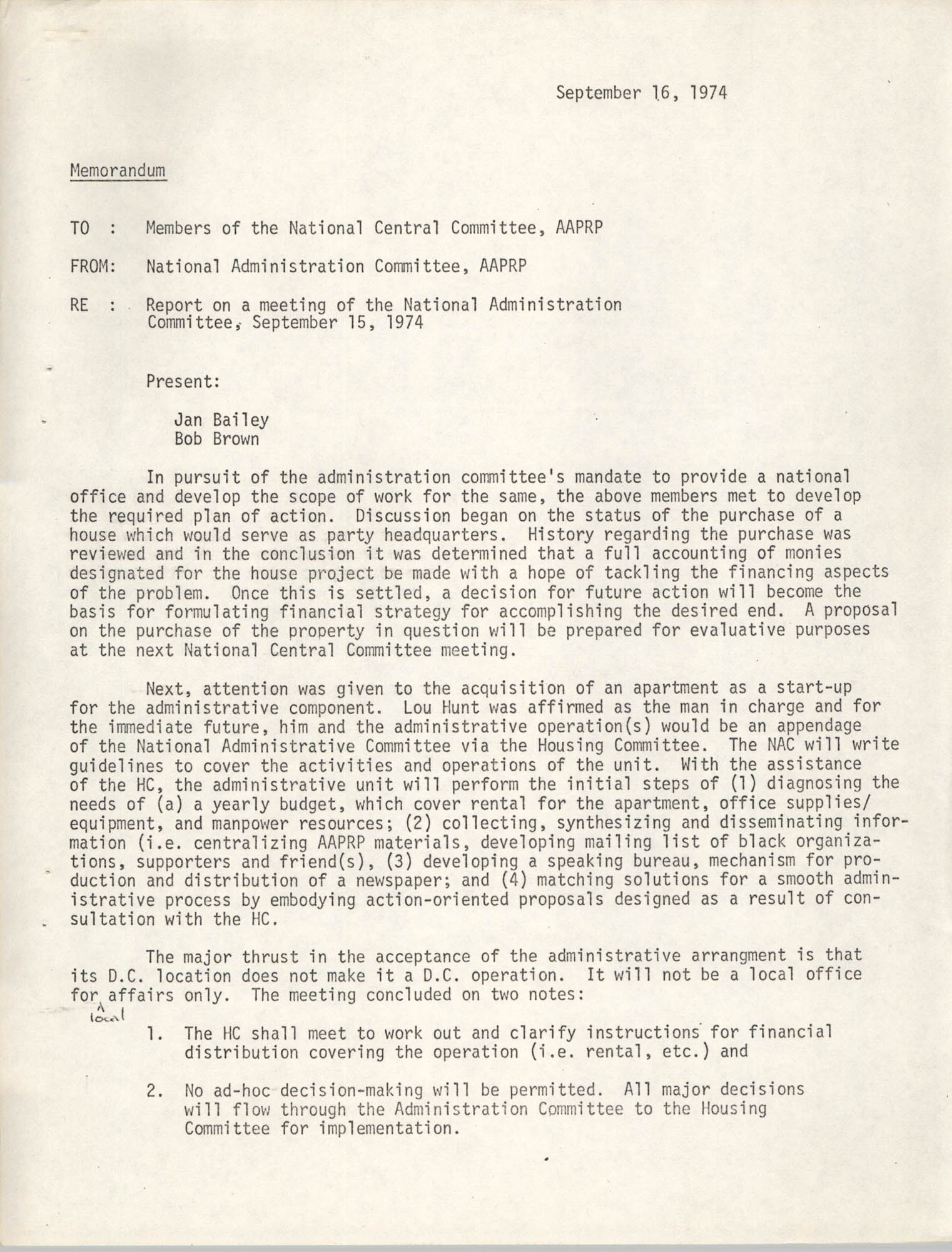 National Program Committee Memorandum, September 16, 1974
