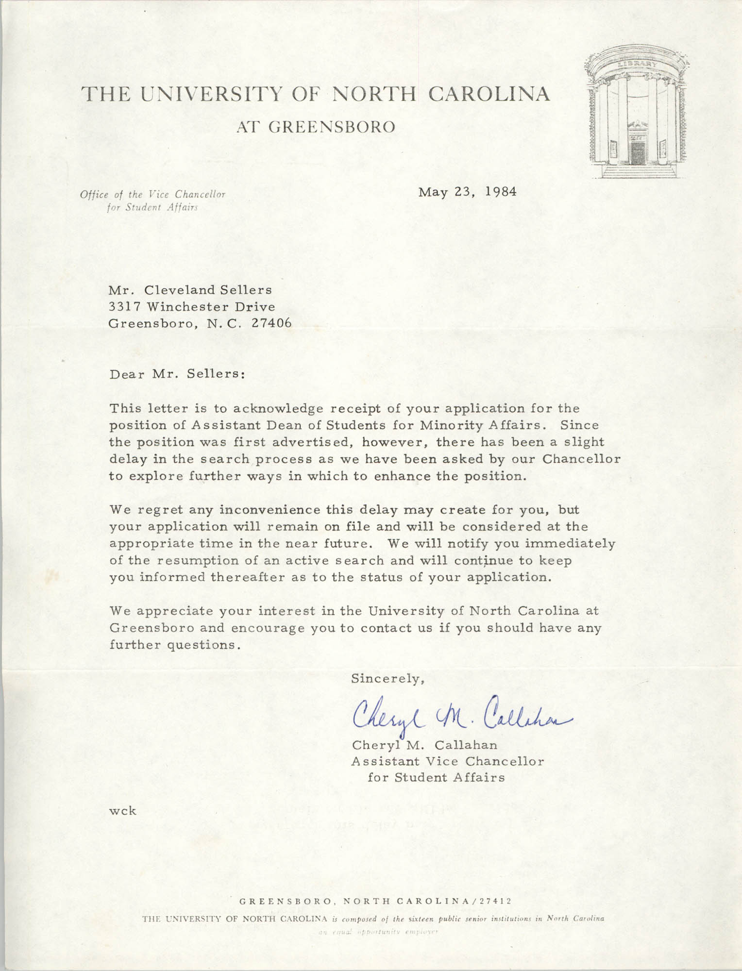 Letter from Cheryl M. Callahan to Cleveland Sellers, May 23, 1984