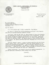 Letter from Cleveland Sellers to Louise Nowicki, March 21, 1985
