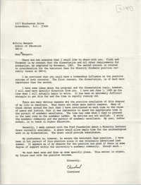 Letter from Cleveland Sellers to Fritz Mengert, 1984