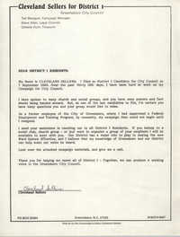 Letter from Cleveland Sellers to District I Residents, September 7, 1983
