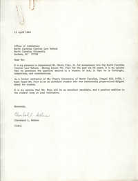 Letter from Cleveland Sellers, April 12, 1984