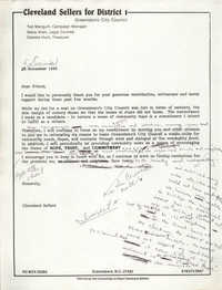 Letter from Cleveland Sellers to Supporters, December 5, 1983