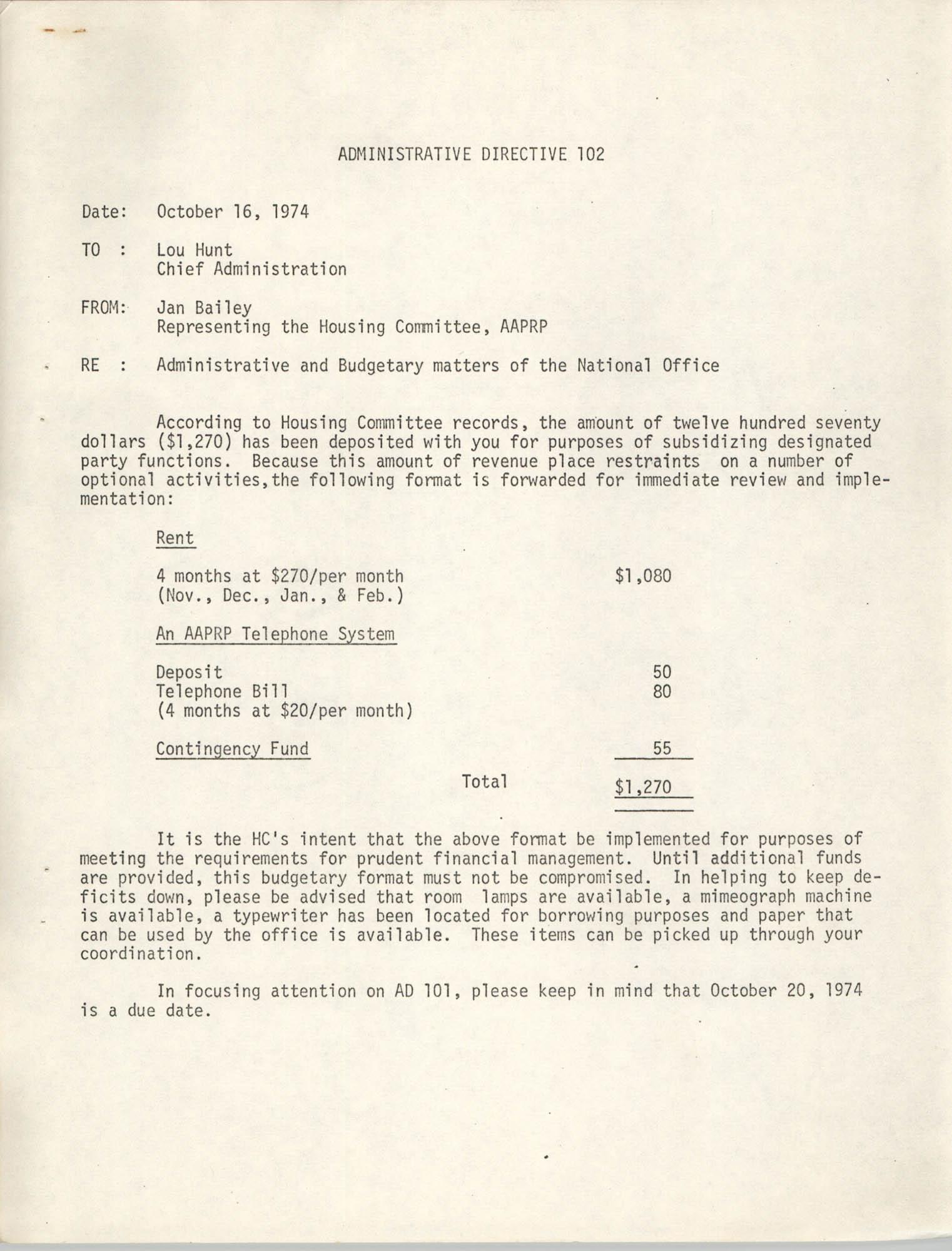 Administrative Directive 102 Memorandum, October 16, 1974