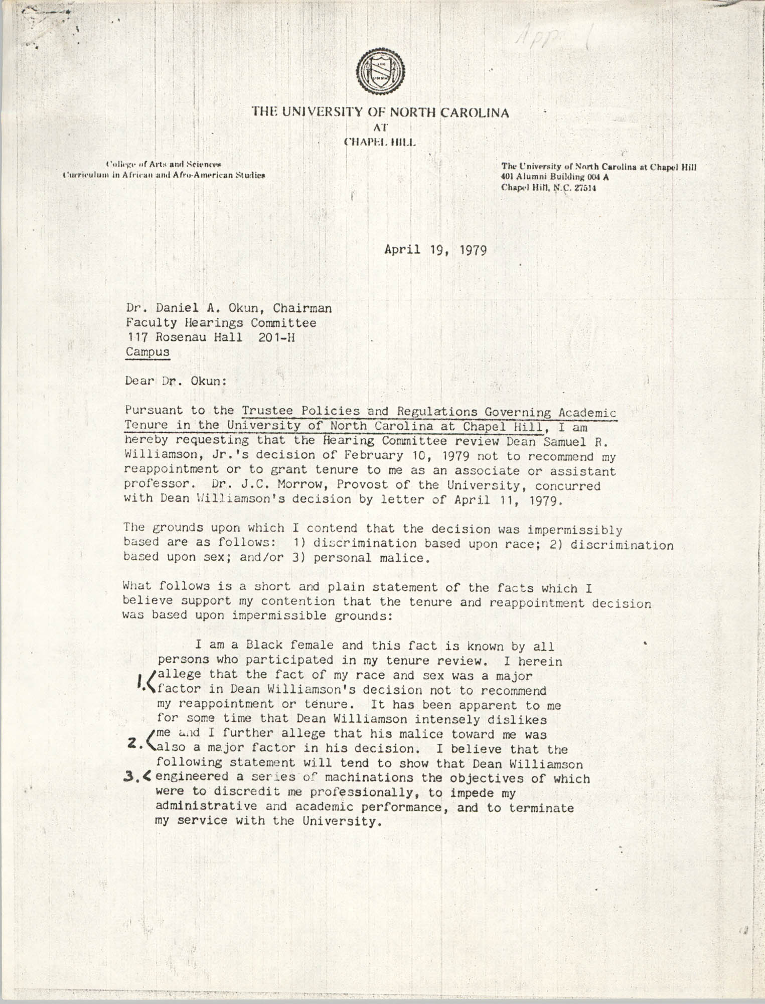 Letter from Sonja H. Stone to Daniel A. Okun, April 19, 1979
