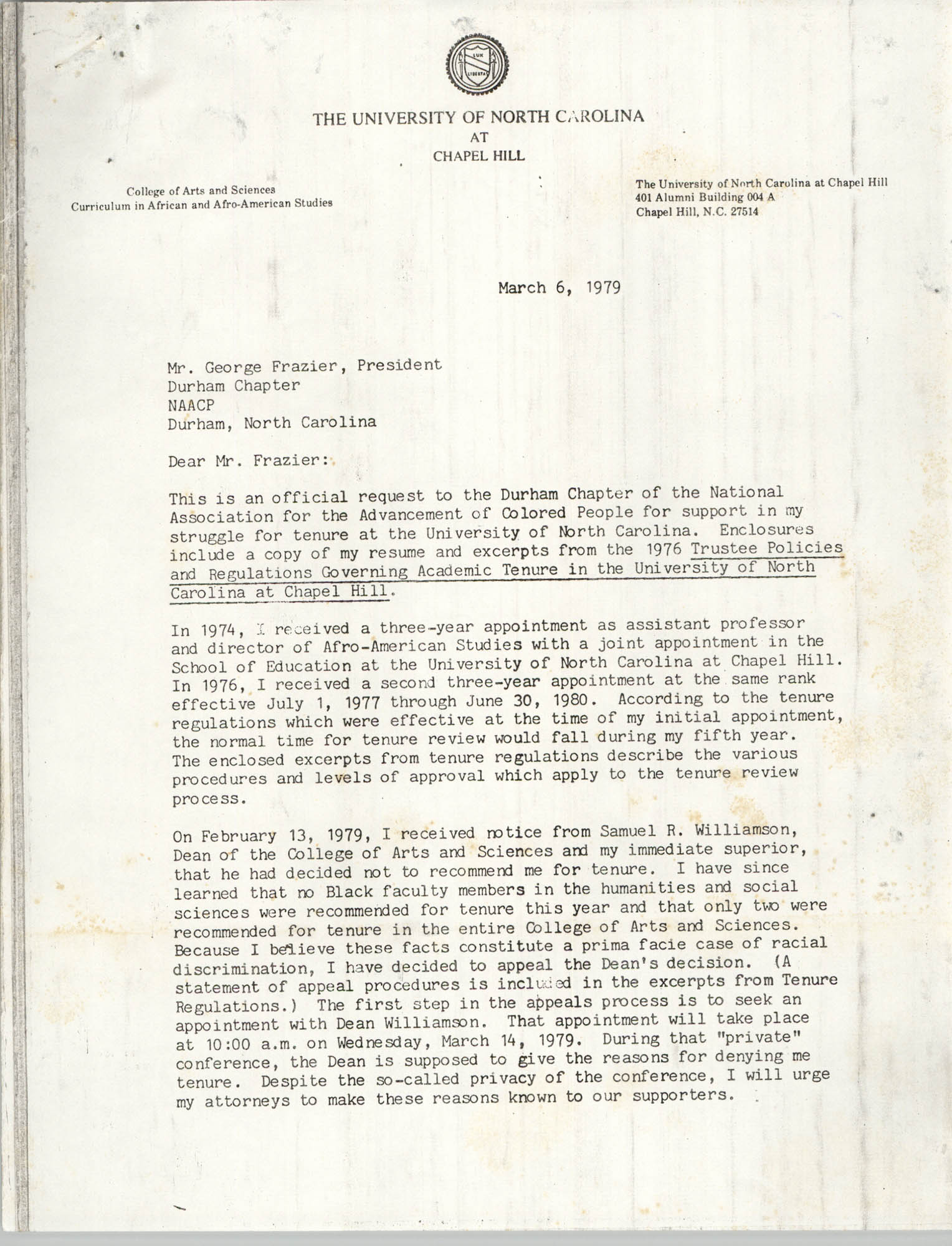 Letter from Sonja H. Stone to George Frazier, March 6, 1979