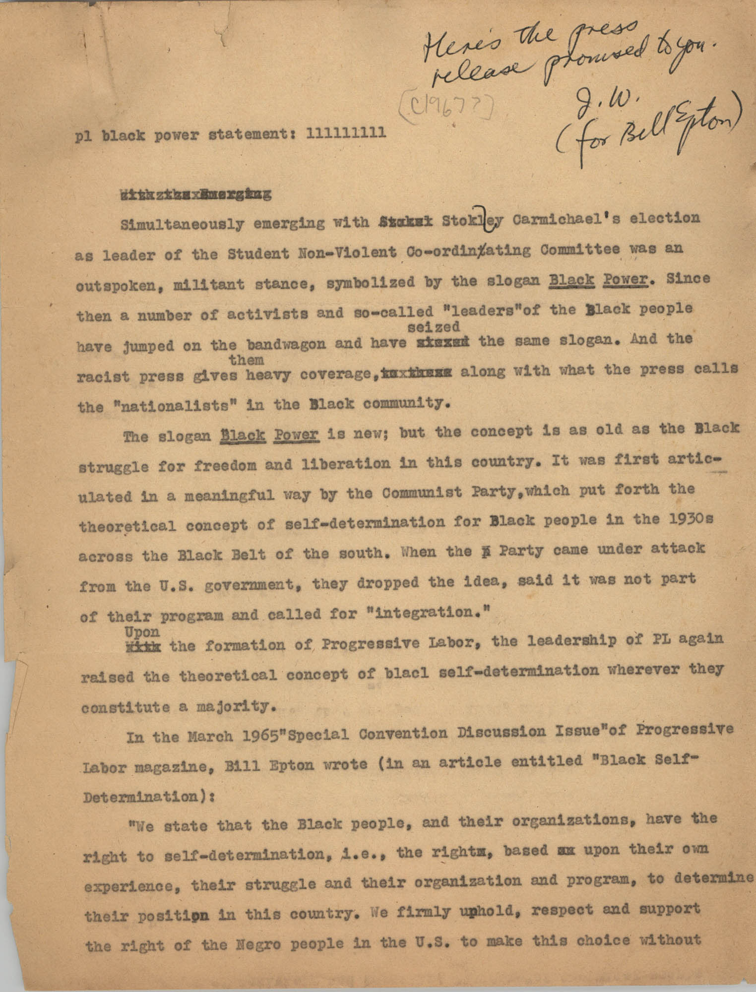 Student Nonviolent Coordinating Committee Press Release, 1967