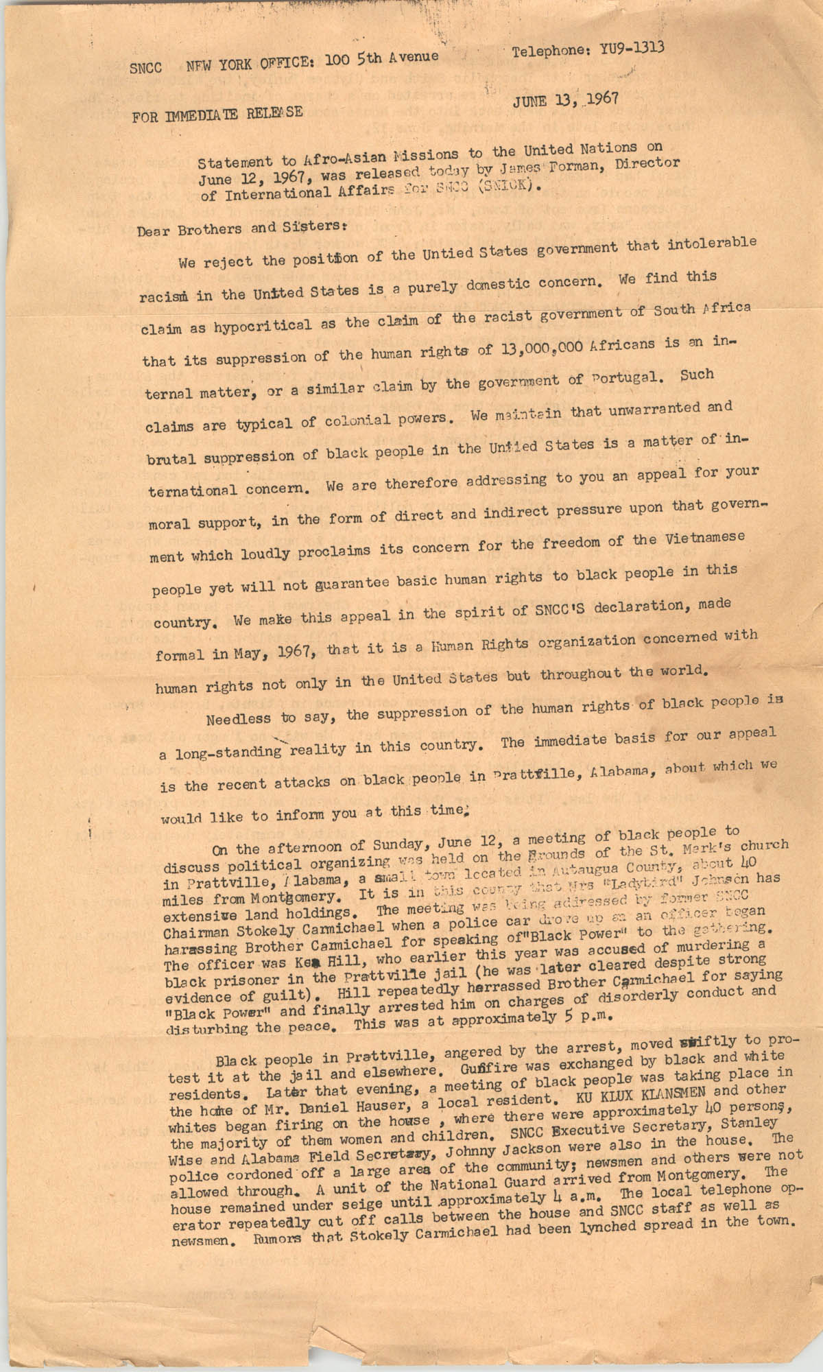 Student Nonviolent Coordinating Committee Press Release, June 13, 1967