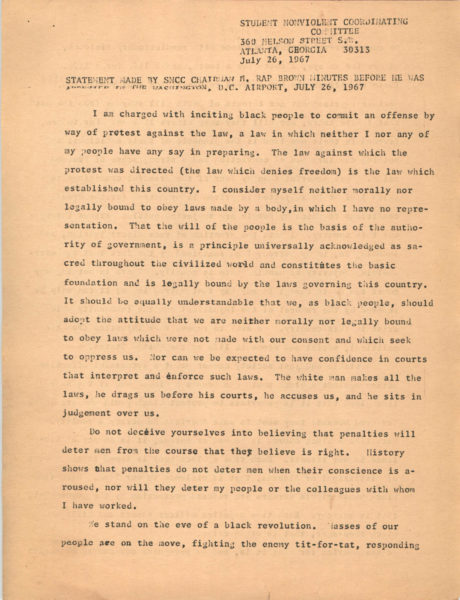 Student Nonviolent Coordinating Committee Press Release, June 26, 1967