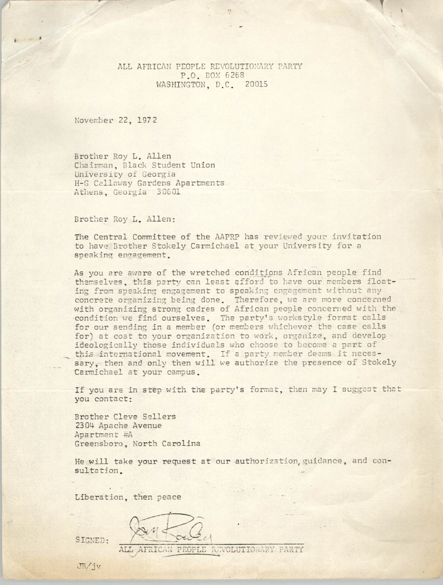 Letter from Jan Bailey to Roy L. Allen, November 22, 1972