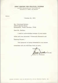 Letter from Eddie N. Williams to Cleveland Sellers, October 26, 1972