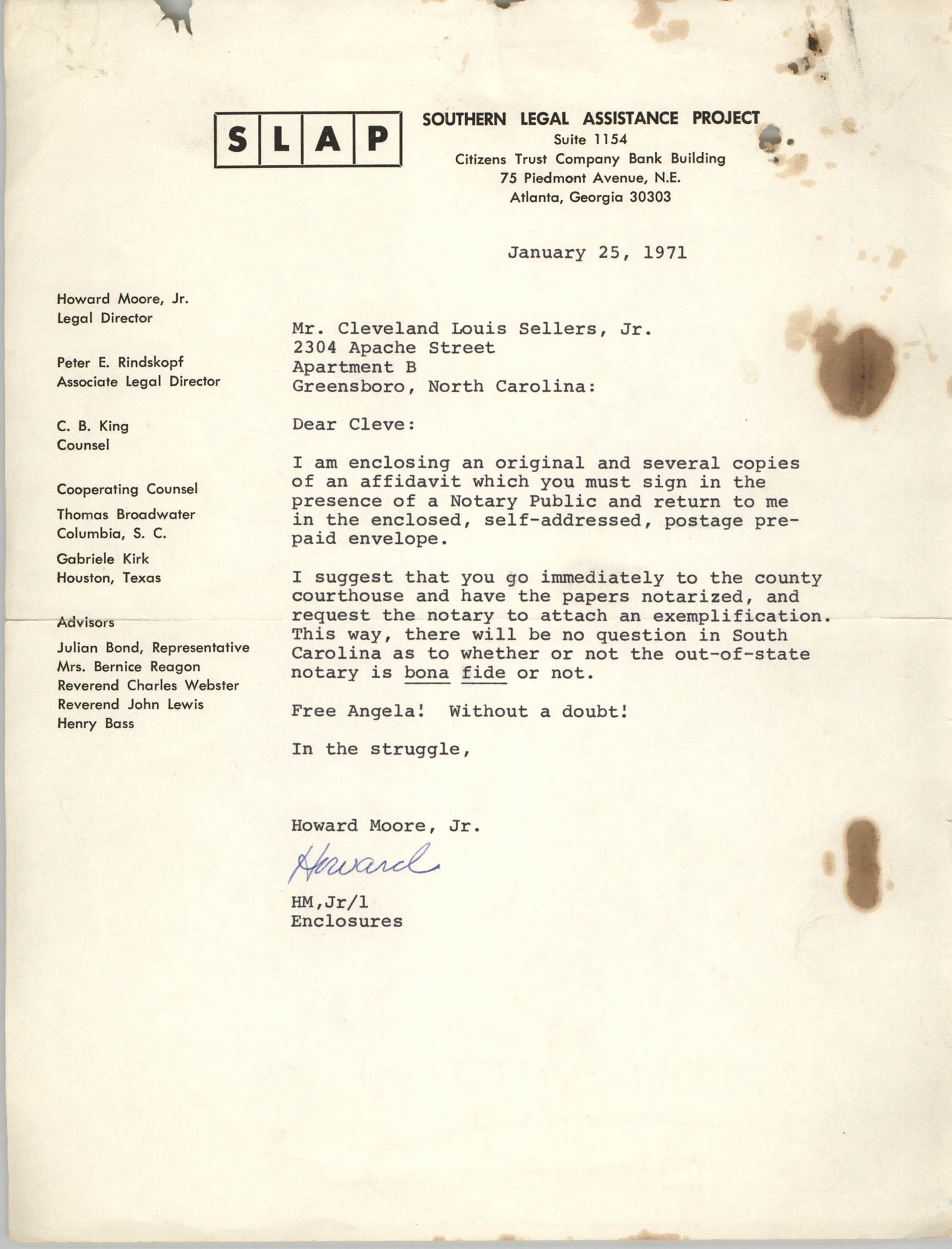 Letter from Howard Moore, Jr. to Cleveland Sellers, January 25, 1971