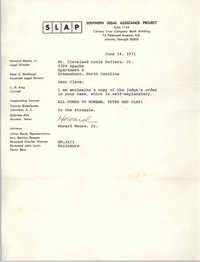 Letter from Howard Moore, Jr. to Cleveland Sellers, June 24, 1971