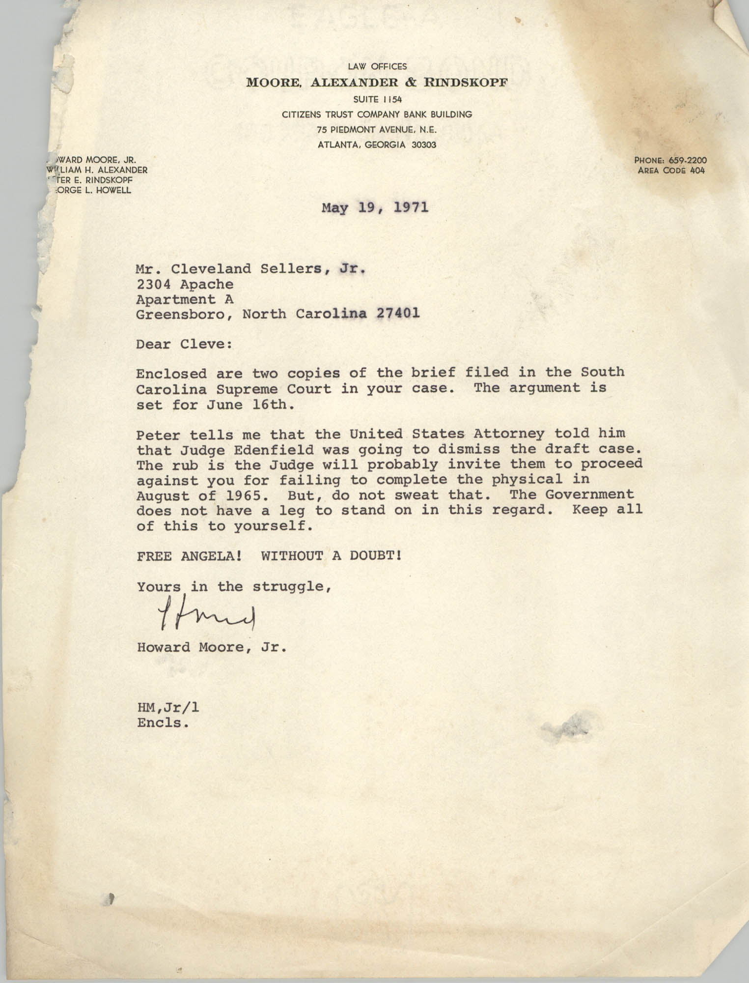 Letter from Howard Moore, Jr. to Cleveland Sellers, May 19, 1971