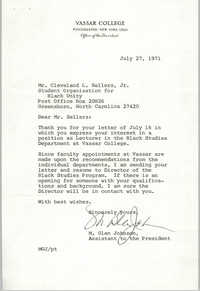 Letter from M. Glen Johnson to Cleveland Sellers, July 27, 1971