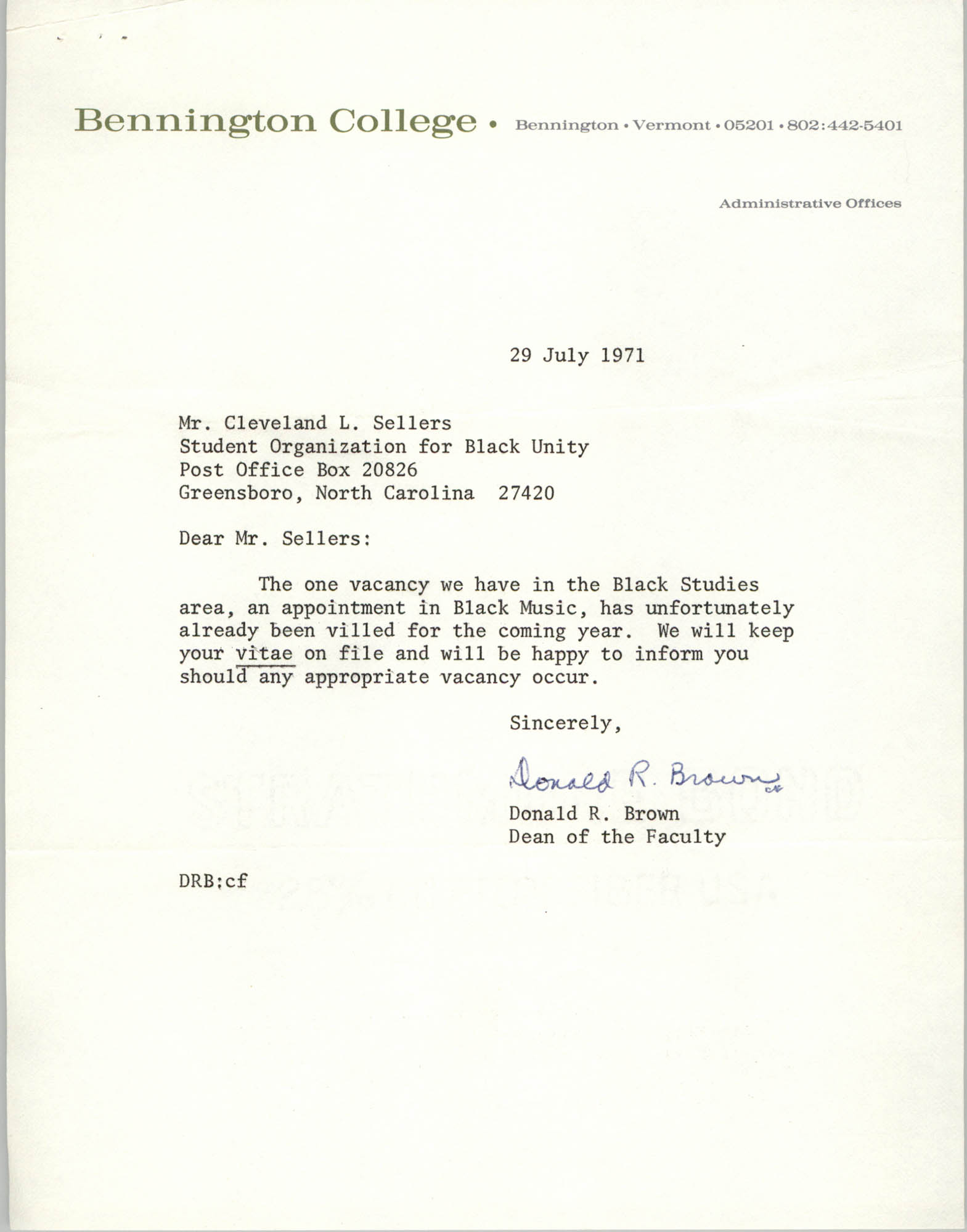 Letter from Donald R. Brown to Cleveland Sellers, July 29, 1971
