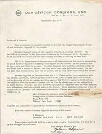 Letter from Yola Akpan, September 28, 1973