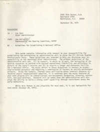 Memorandum from Jan Bailey to Lou Hunt, September 20, 1974