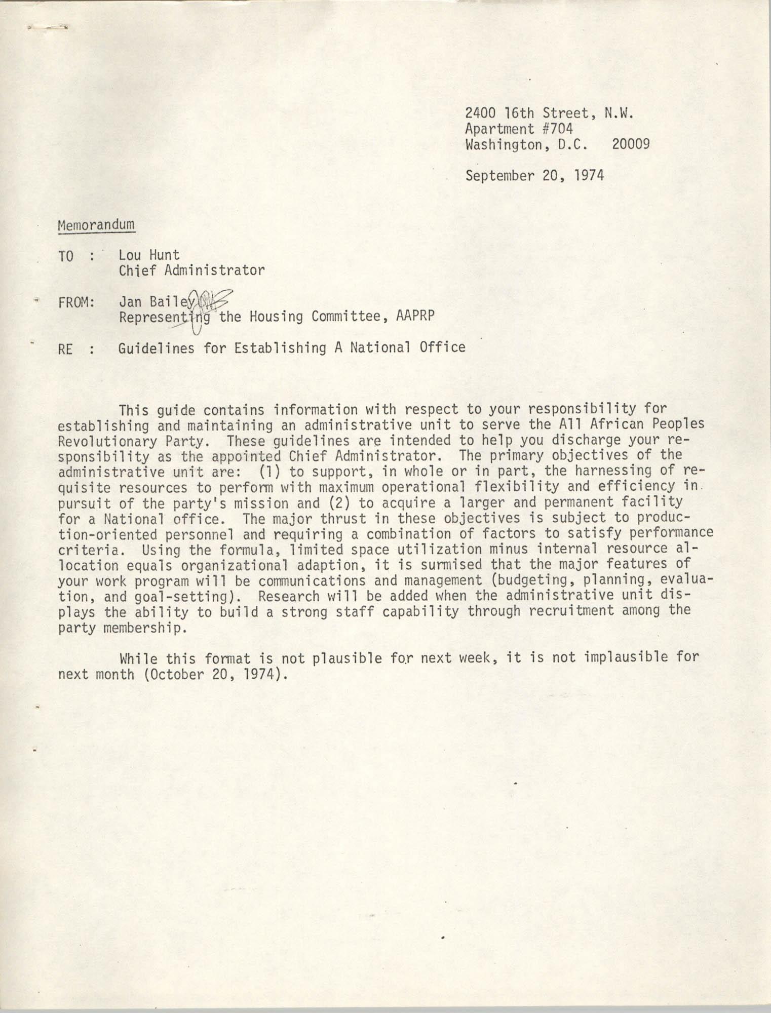 Memorandum from Jan Bailey to Lou Hunt, September 20, 1974