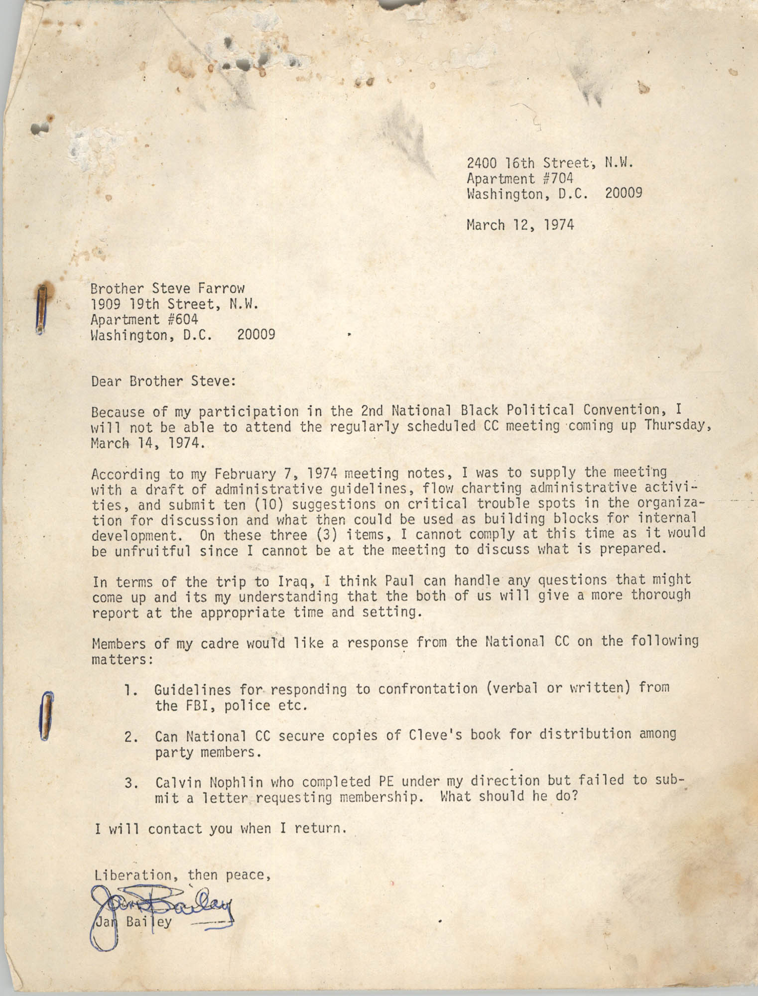Letter from Jan Bailey to Steve Farrow, March 12, 1974