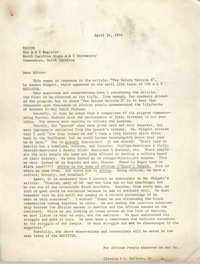 Letter from Cleveland Sellers to the Editor of the A & T Register, April 24, 1974