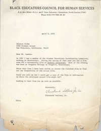 Letter from Cleveland Sellers to Saul Landrau, April 9, 1974