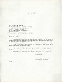 Letter from Cleveland Sellers to Albert E. Smith, May 16, 1986