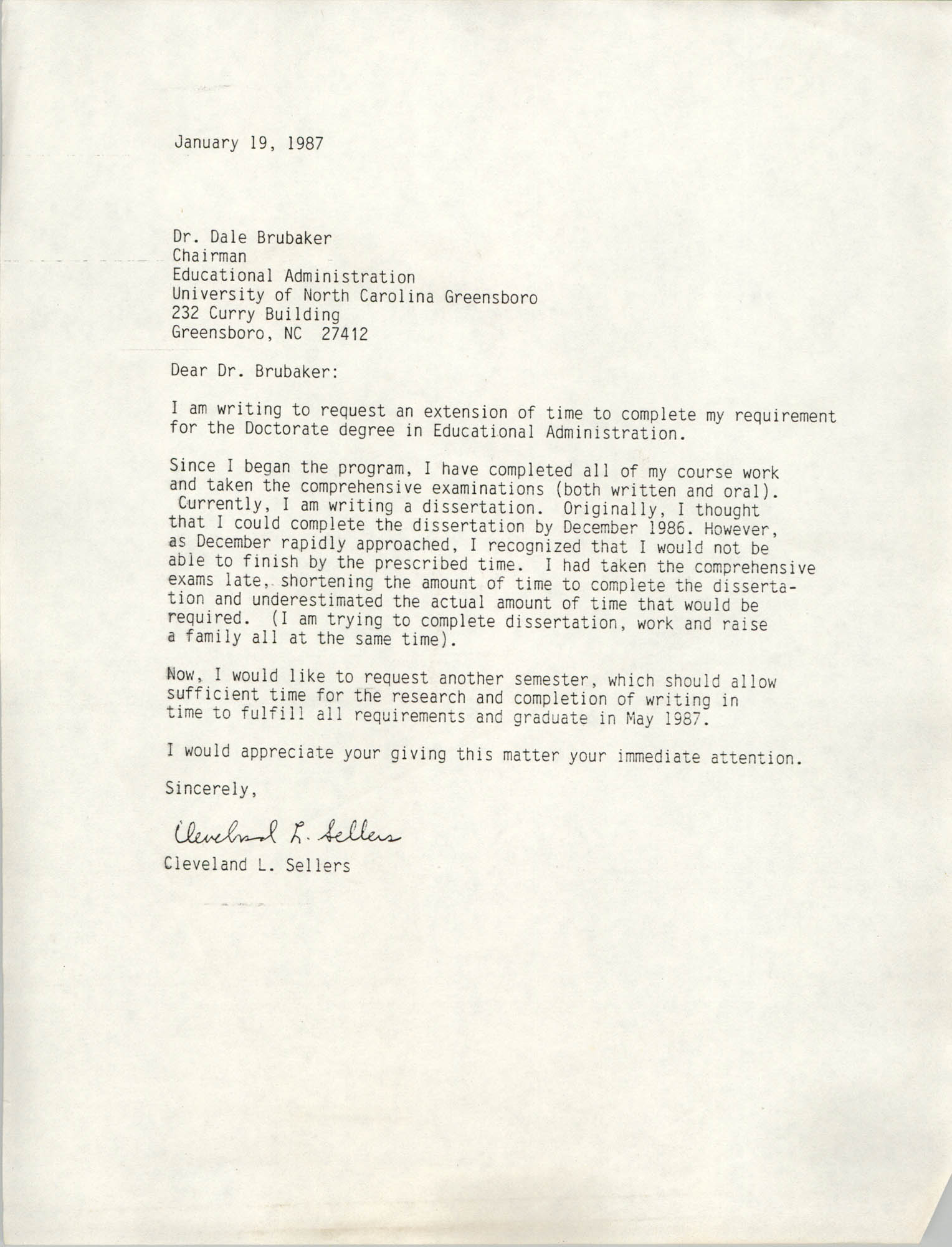 Letter from Cleveland Sellers to Dale Brubaker, January 19, 1987