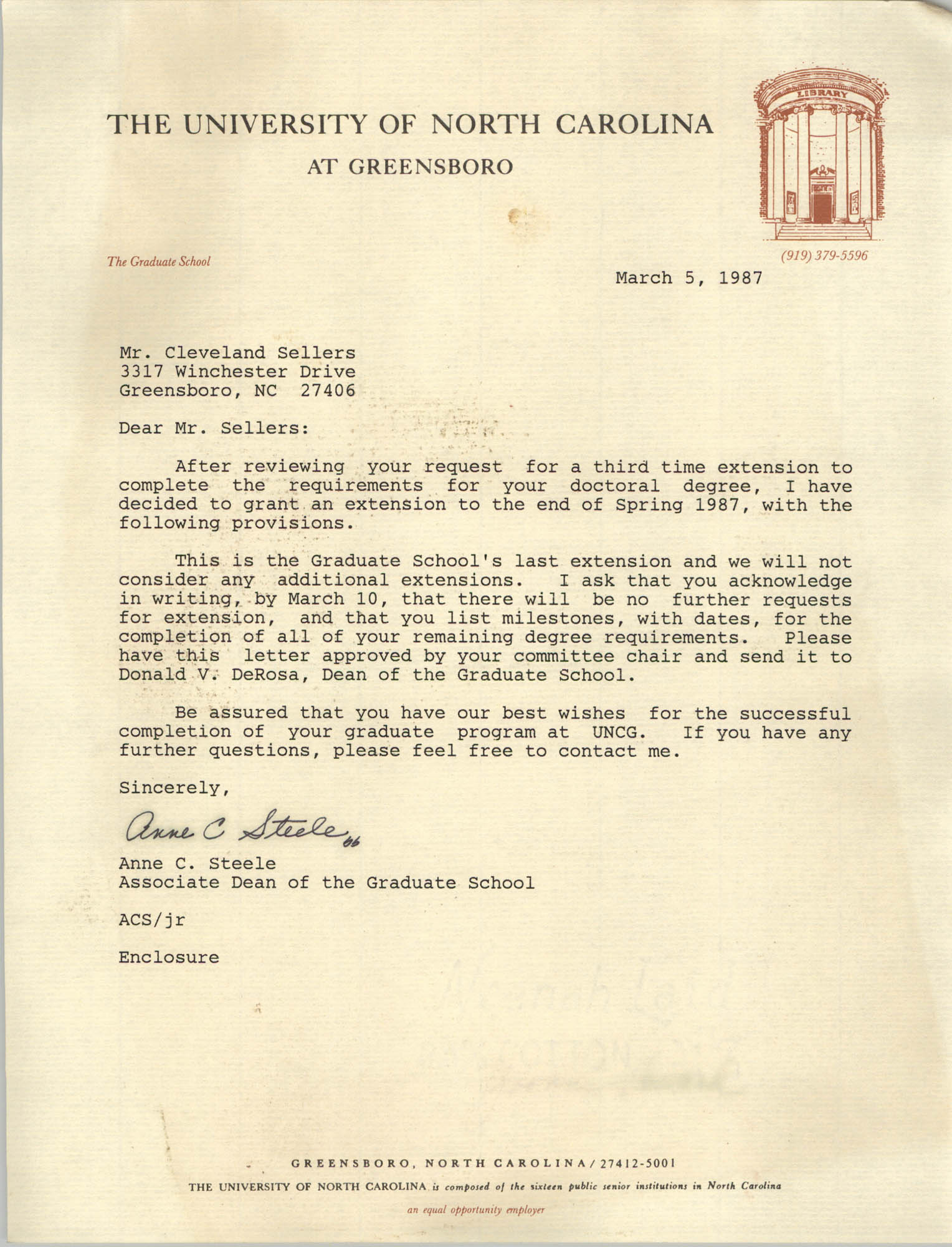 Letter from Anne C. Steele to Cleveland Sellers, March 5, 1987