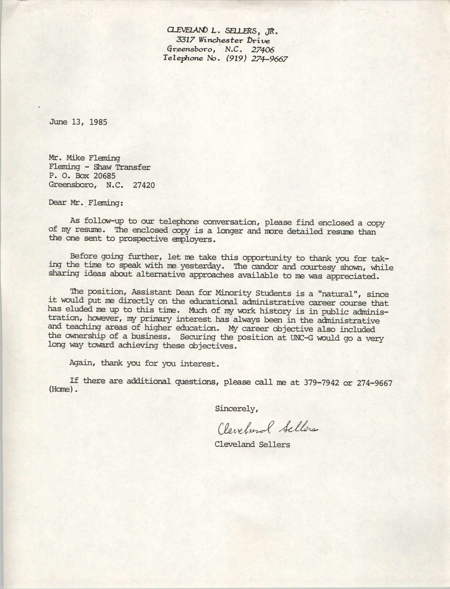 Letter from Cleveland Sellers to Mike Fleming, June 13, 1985