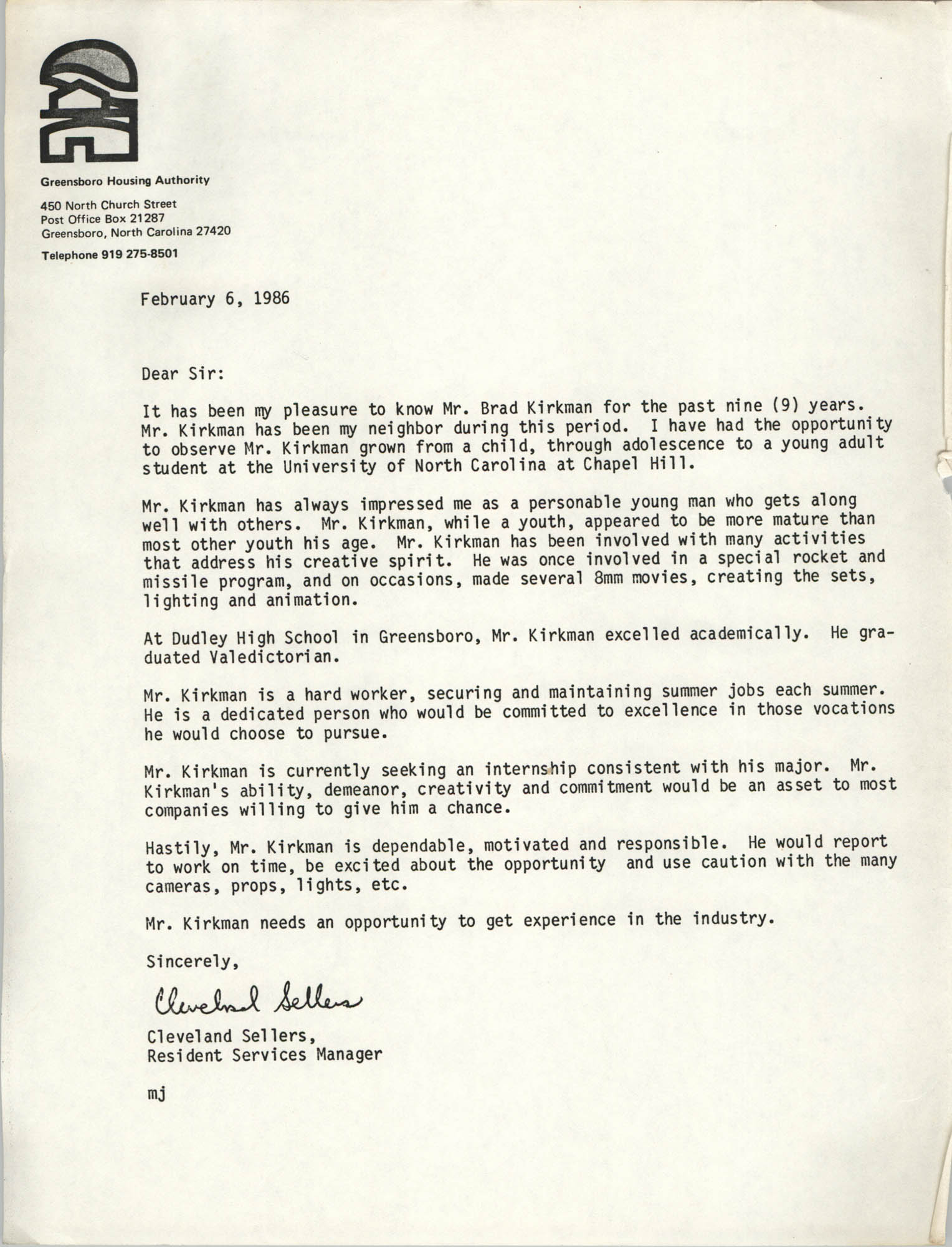 Letter from Cleveland Sellers, February 6, 1986