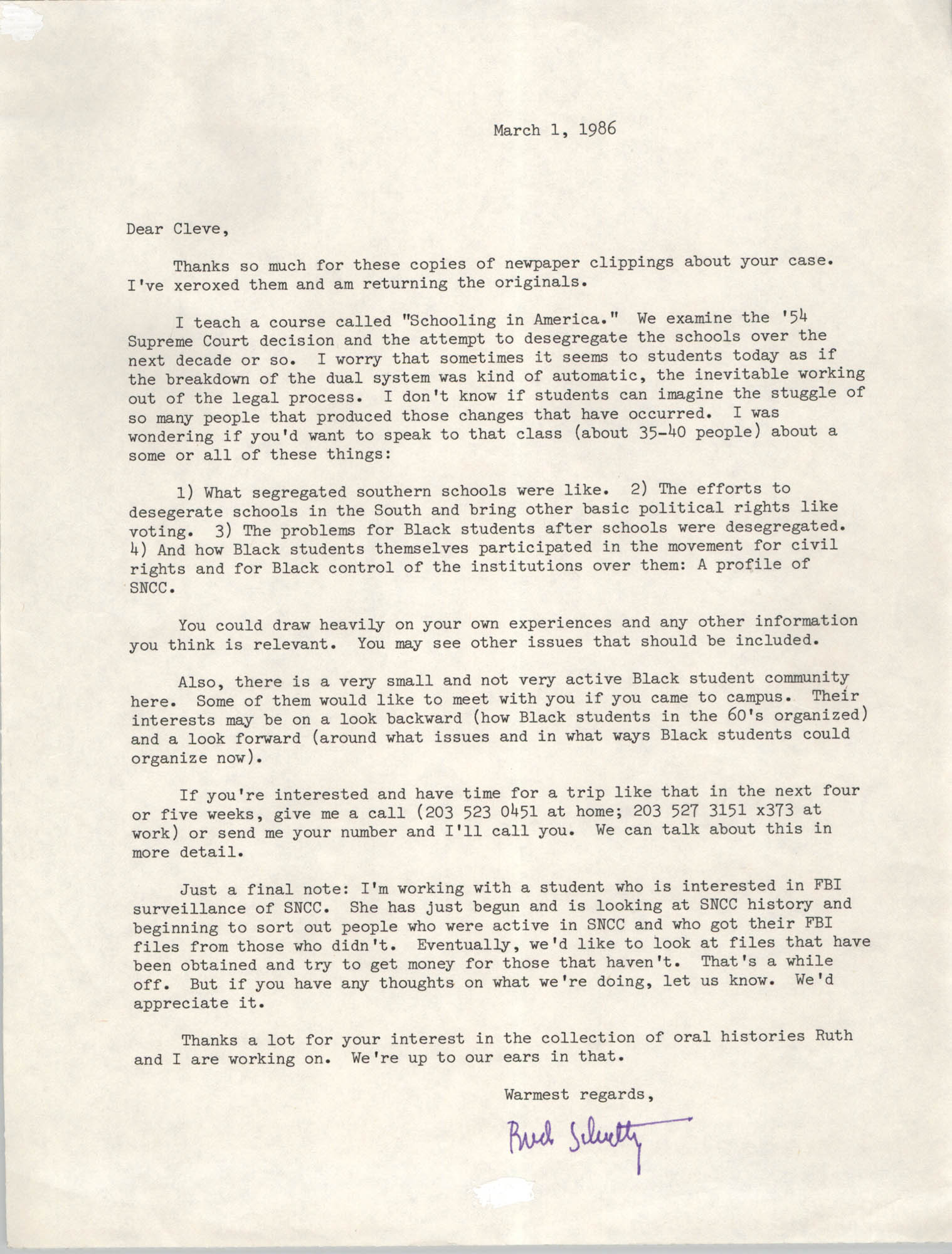 Letter from Bud Schultz to Cleveland Sellers, March 1, 1986