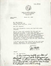 Letter from James G. Martin to Mab Segrest, March 28, 1986