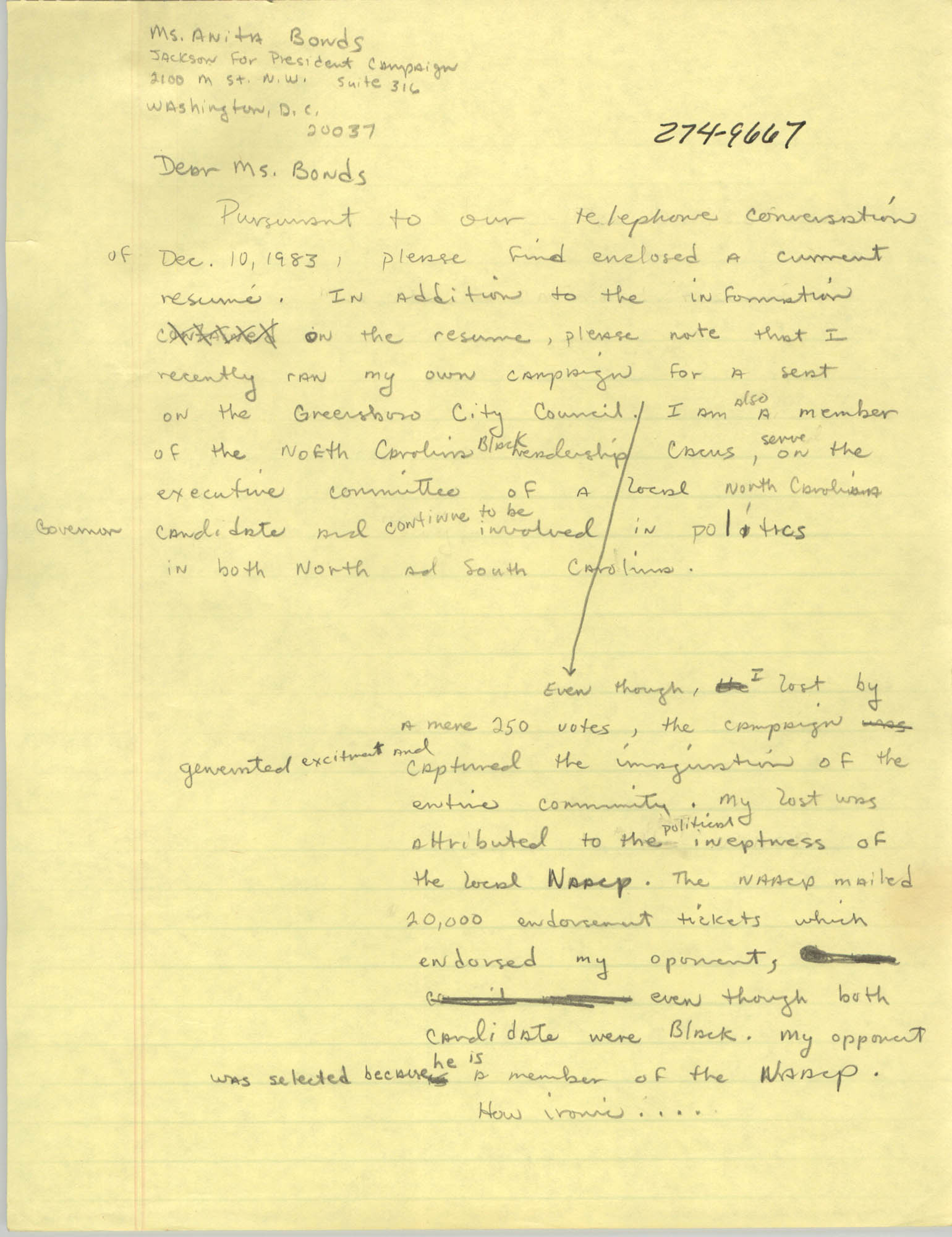 Letter from Cleveland Sellers to Anita Bowds, 1983