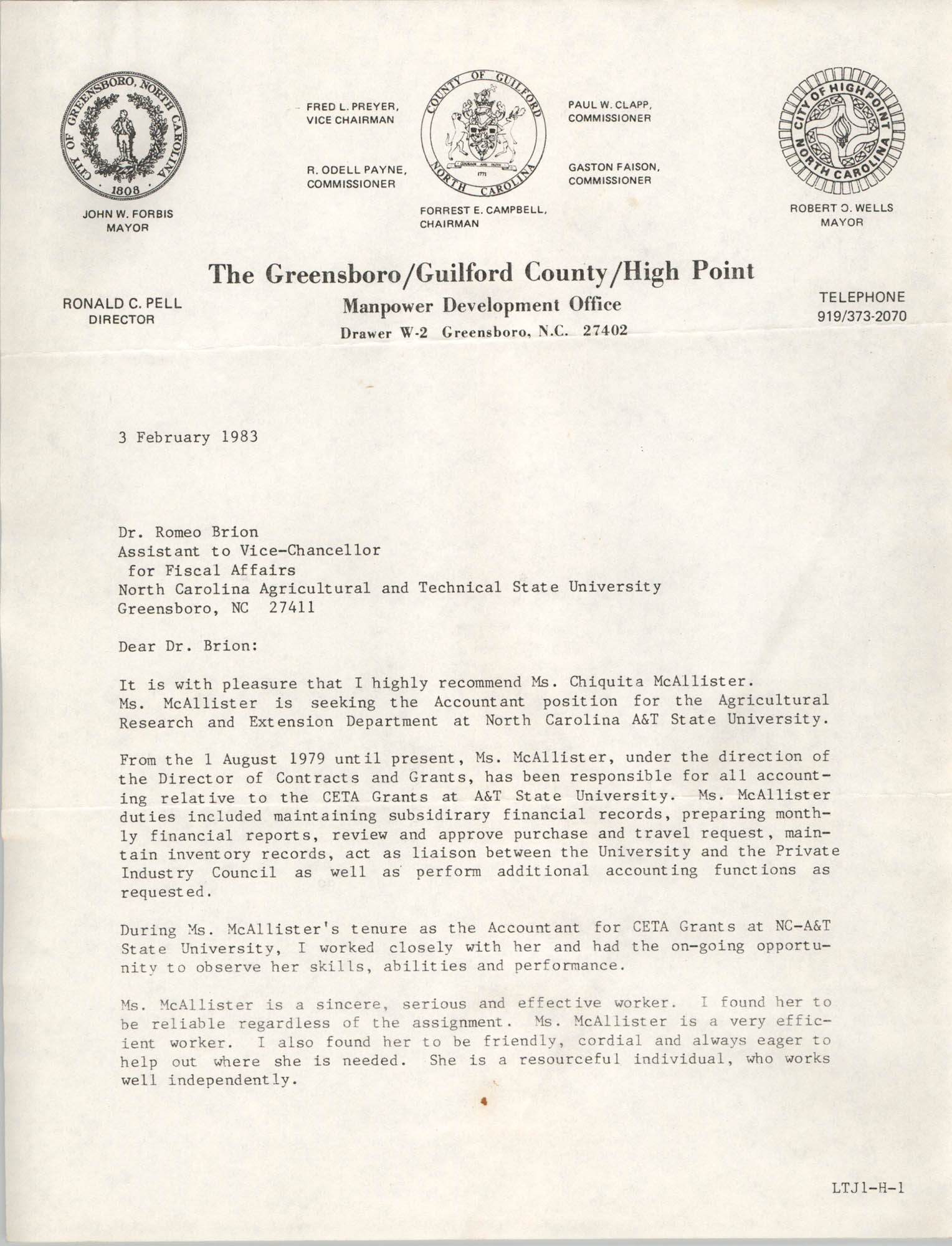 Letter from Cleveland Sellers to Romeo Brion, February 3, 1983