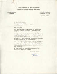 Letter from J. Gordon Chamberlin to Cleveland Sellers, April 11, 1984