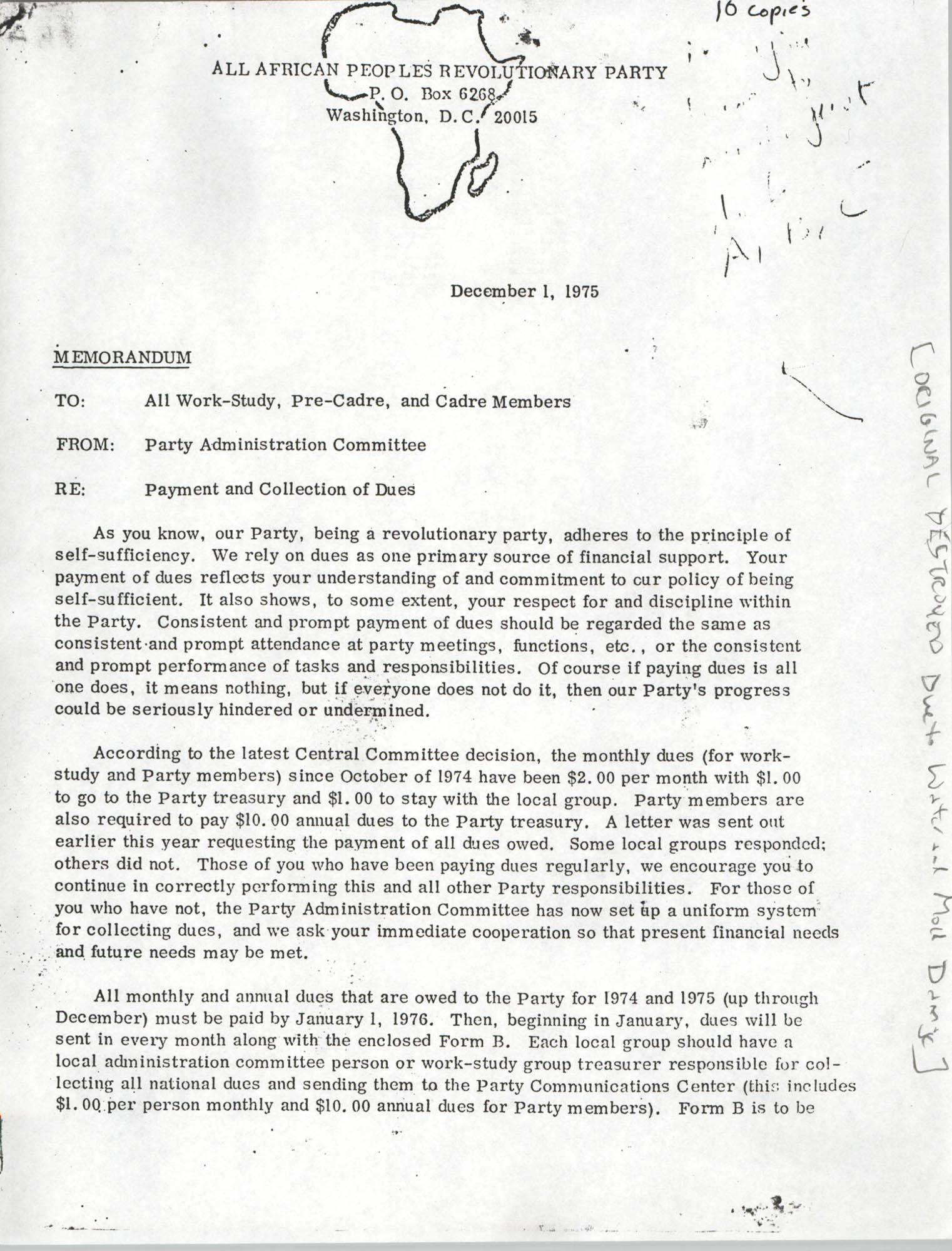 All African People's Revolutionary Party Memorandum, December 1, 1975