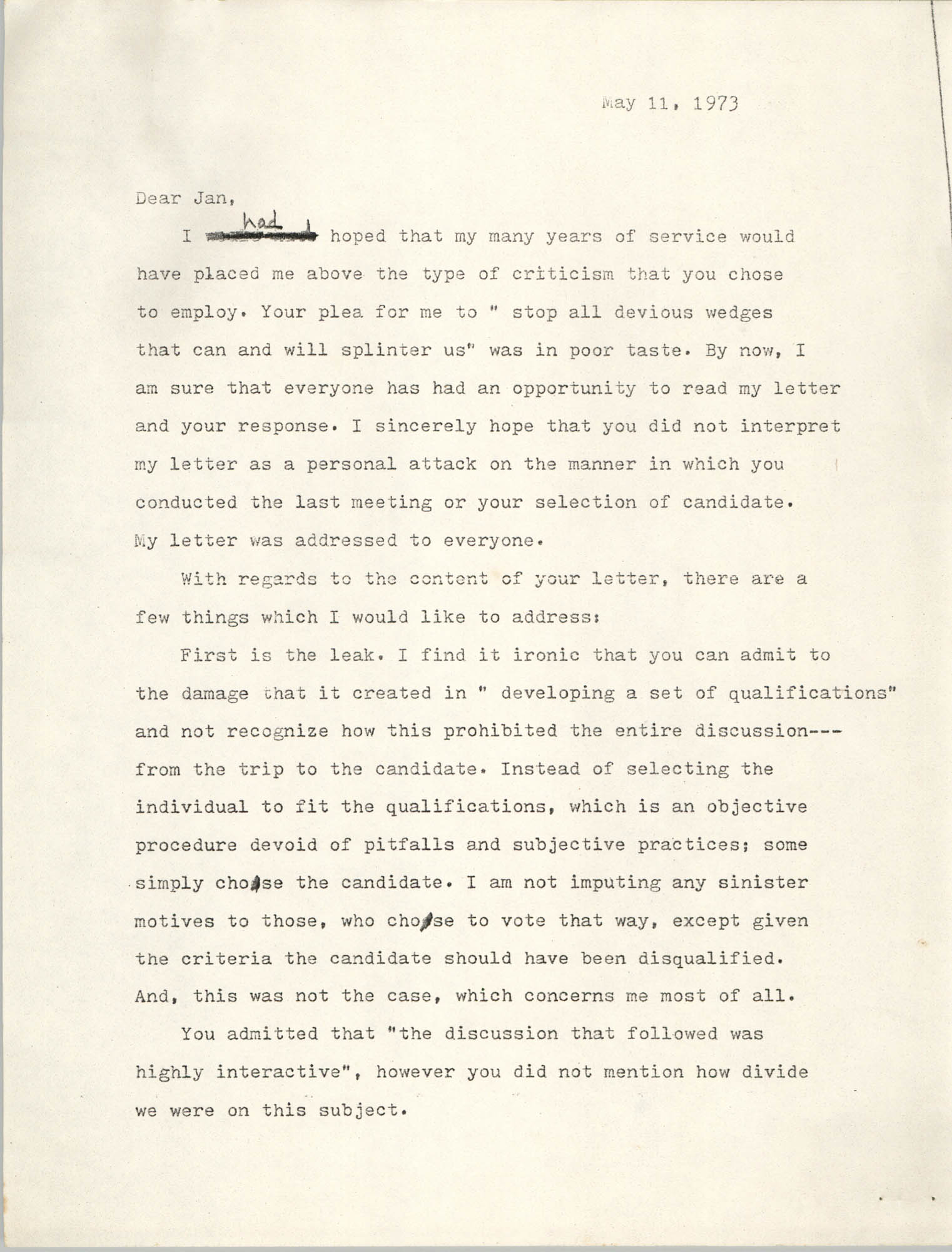 Letter from M'Zilikazi to Jan Bailey, May 11, 1973
