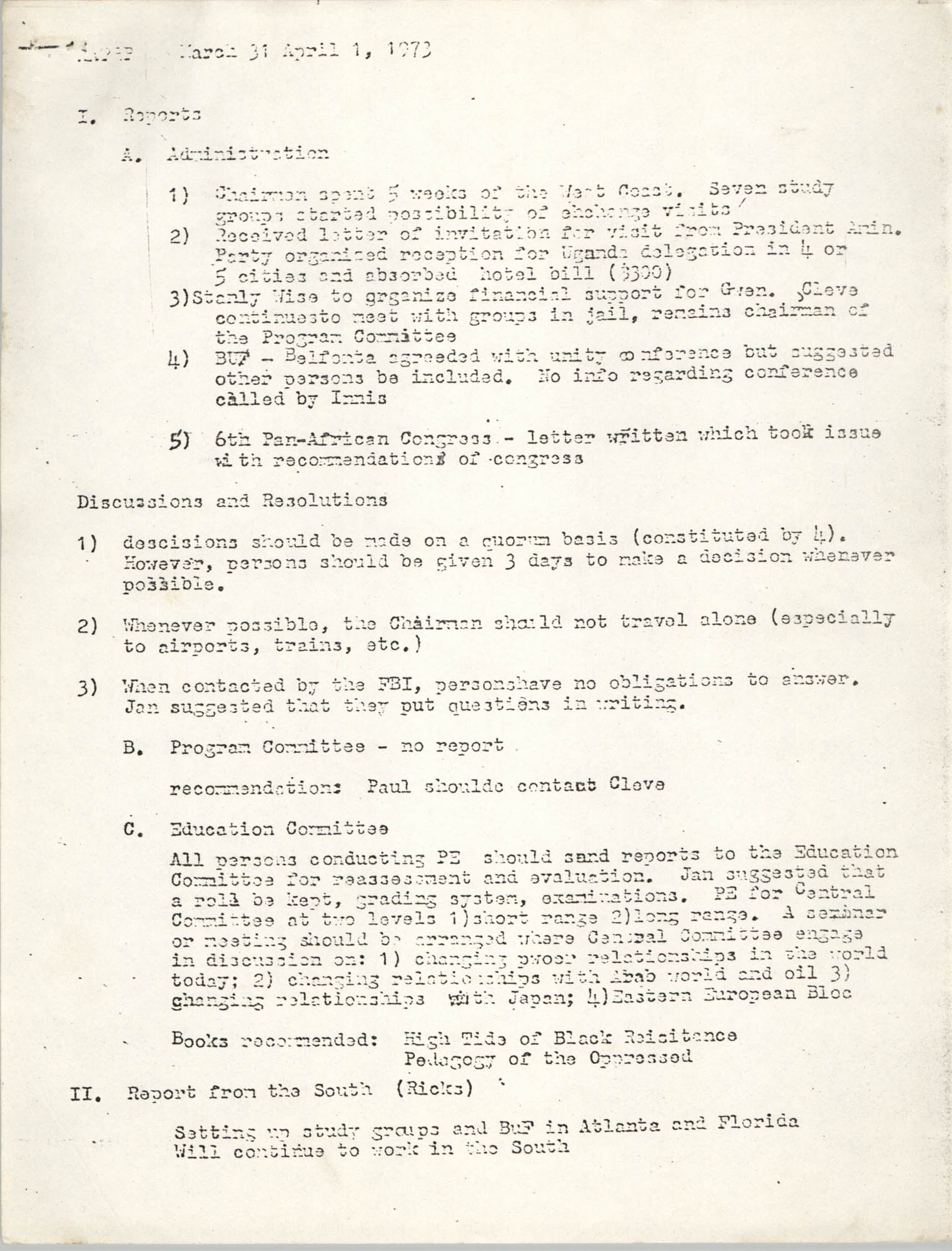 Minutes of All African People's Revolutionary Party Meeting, March 31 to April 1, 1973