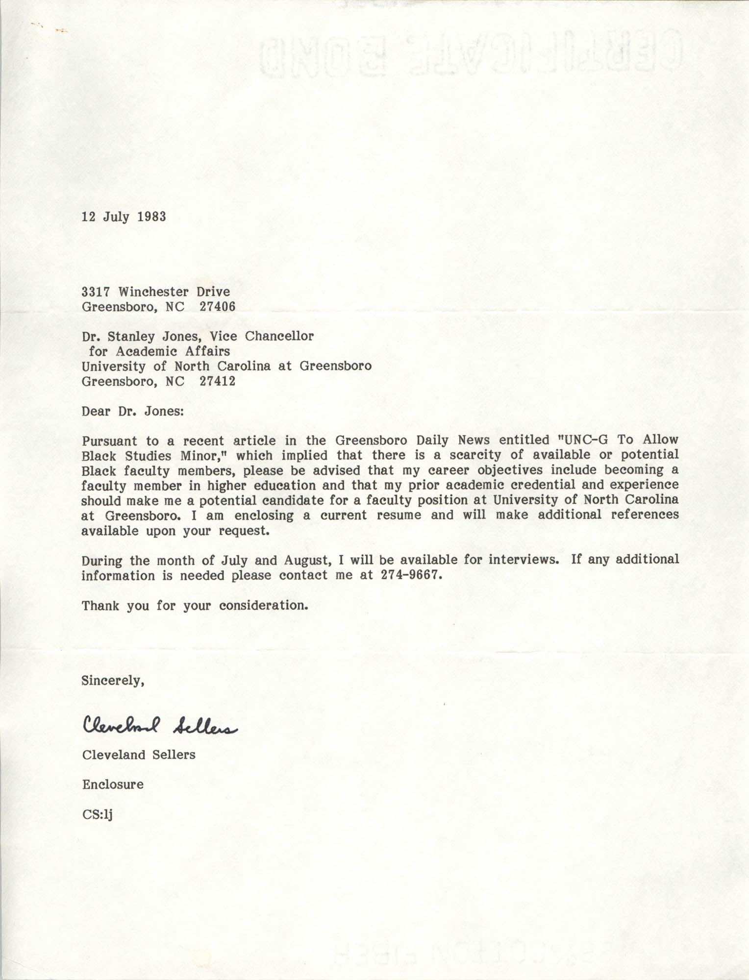 Letter from Cleveland Sellers to Stanley Jones, July 12, 1983