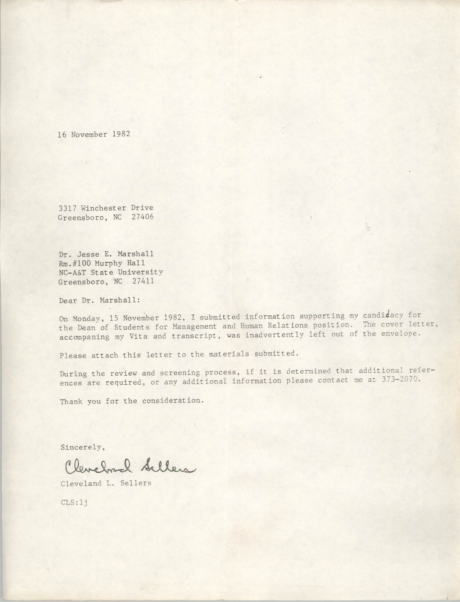 Letter from Cleveland Sellers to Jese E. Marshall, November 16, 1982