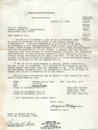 Letter from Suzanne M. Lynn to F.O.I.A. Section of the FBI, January 27, 1982