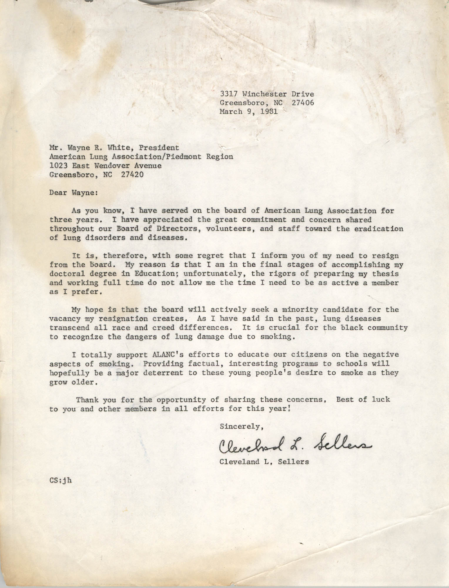 Letter from Cleveland Sellers to Wayne R. White, March 9, 1981