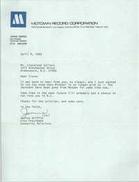 Letter from Junius Griffin to Cleveland Sellers, April 9, 1980