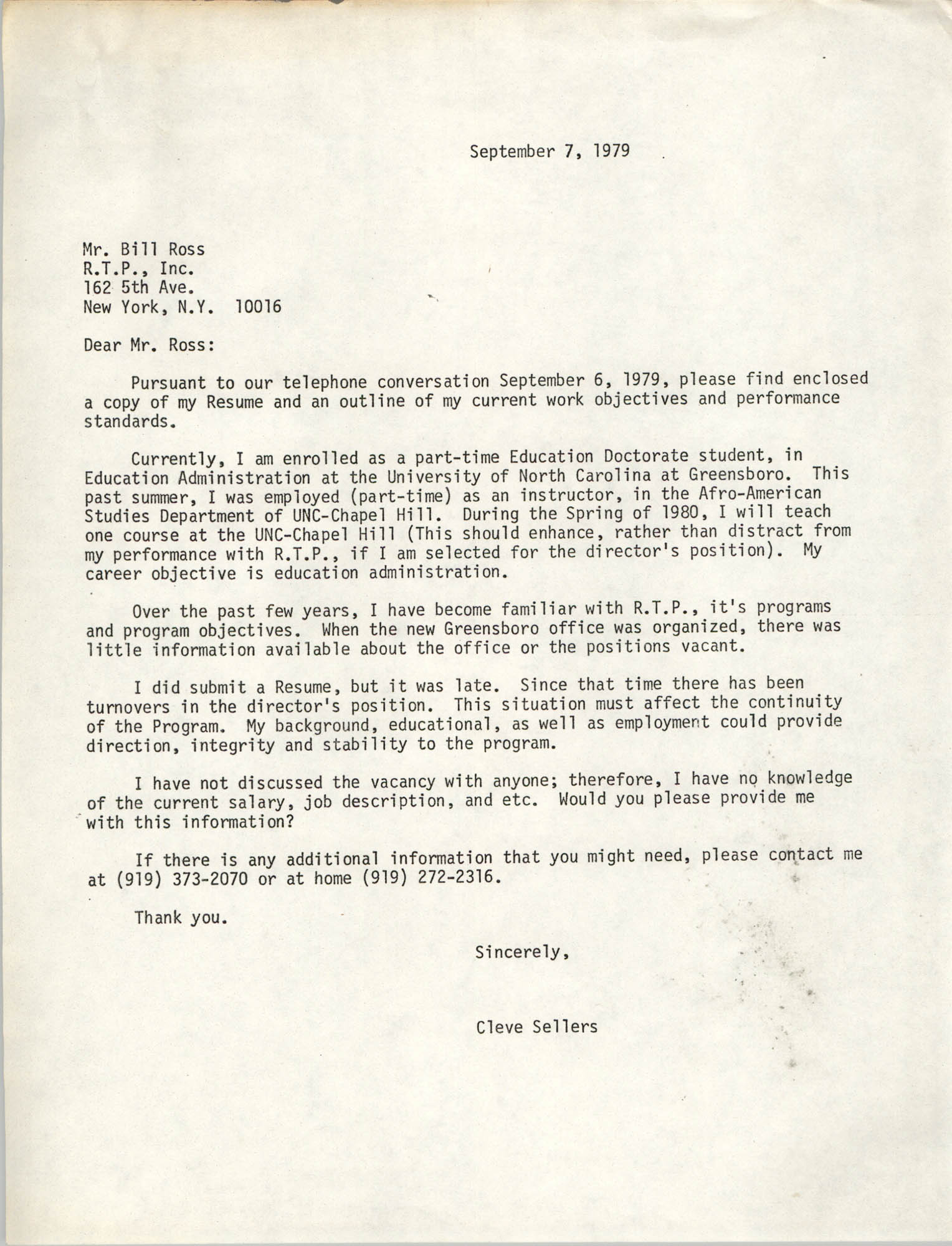 Letter from Cleveland Sellers to Bill Ross, September 7, 1979