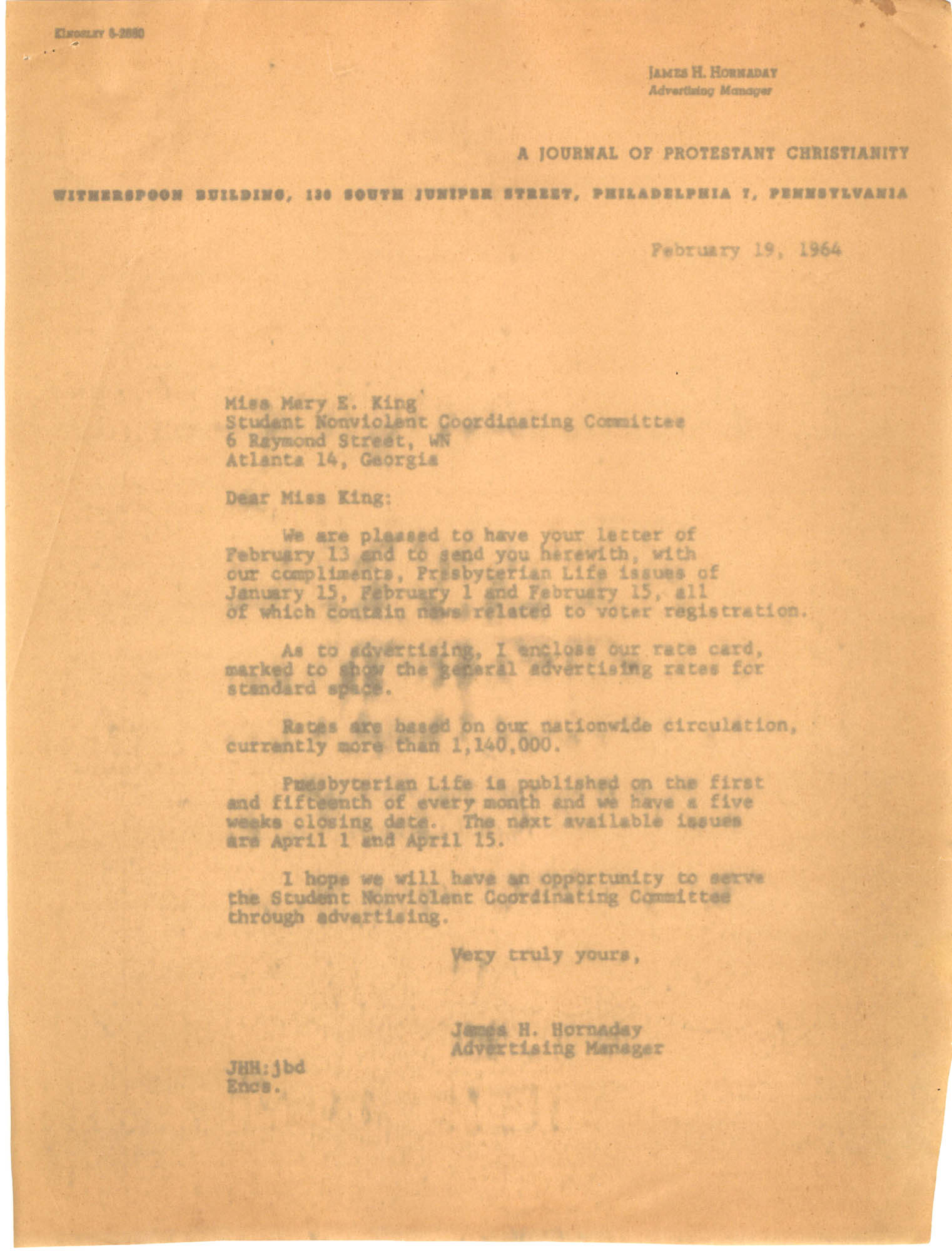 Letter from James Hornaday to Mary E. King, February 19, 1964