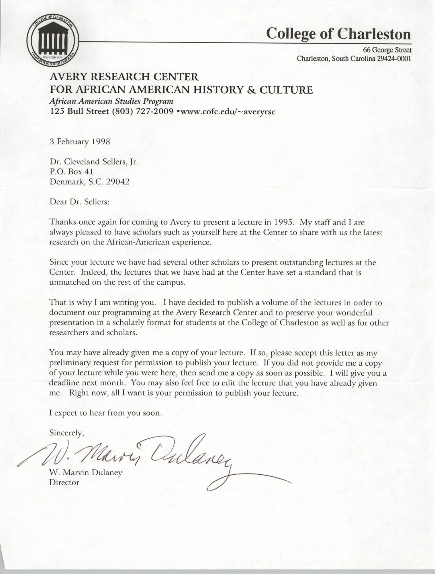 Letter from W. Marvin Dulaney to Cleveland Sellers, February 3, 1998