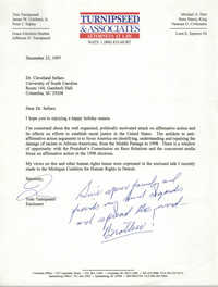 Letter from Tom Turnispseed to Cleveland Sellers, December 23, 1997